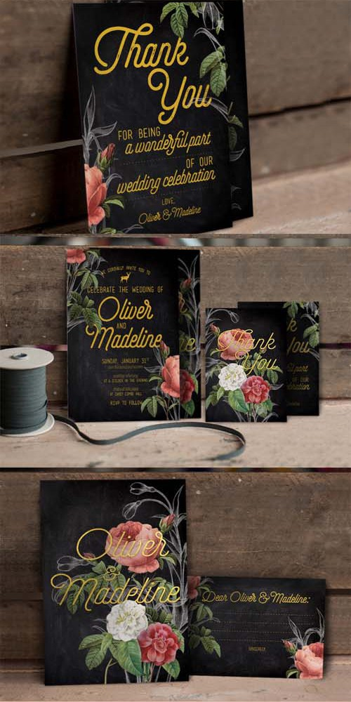 Hand Drawn Floral Wedding Invitation 325341