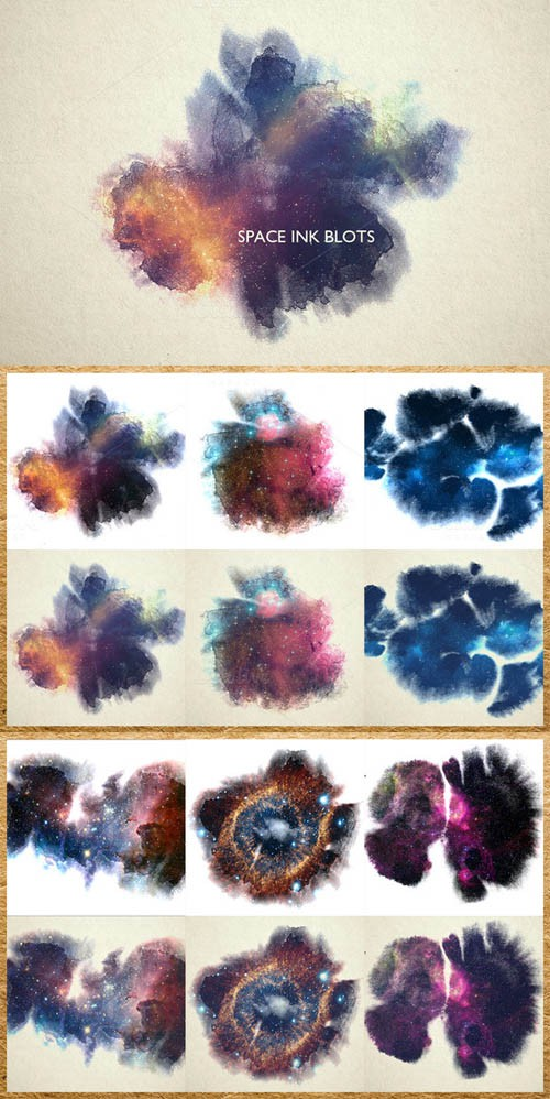Space Ink Blots Backgrounds Set 330514