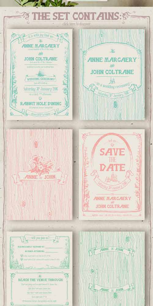 Hand Drawn Forest Wedding Invitation 350939