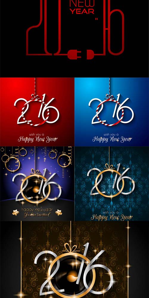 Vector Set - 2016 Happy New Year Background 2
