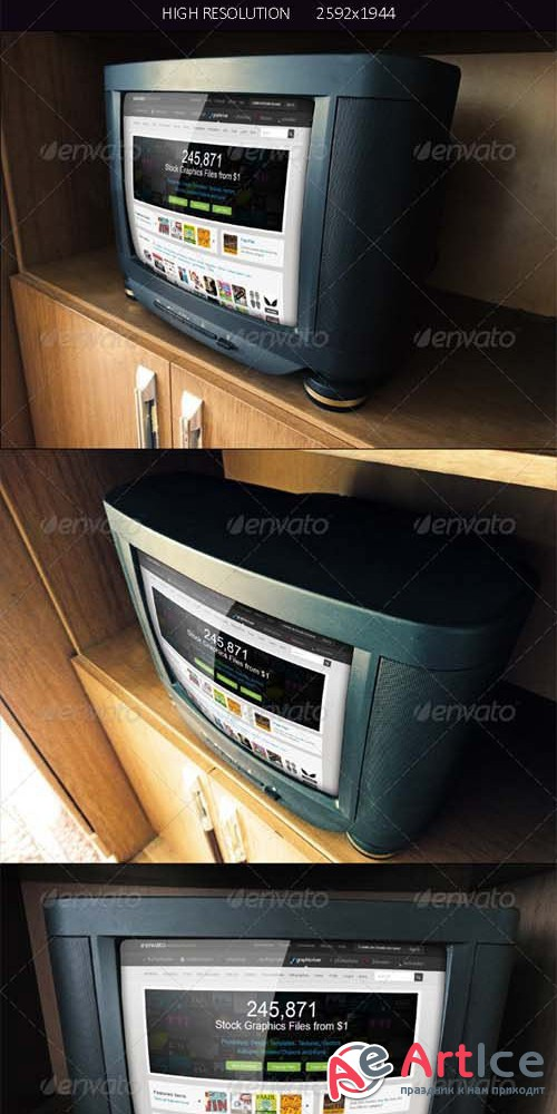 PhotoRealistic Vintage Tv Mock Up