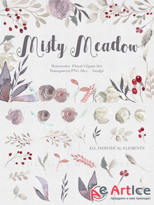 Misty Meadow Floral Clipart Set - Creativemarket 476843