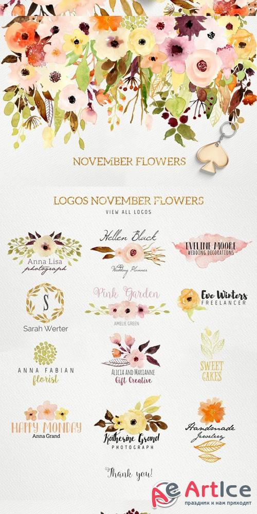 Logos and November Flowers - Creativemarket 429313