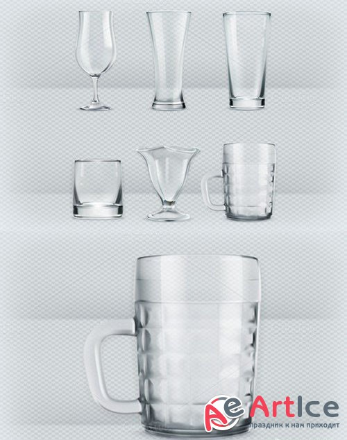 Transparent glasses goblets - Creativemarket 389218