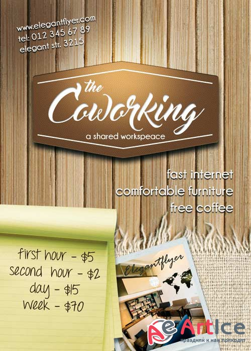 Coworking Premium Flyer PSD Template + Facebook Cover