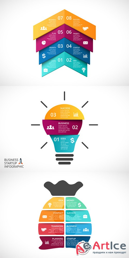 6 Startup Infographics. PSD, AI, EPS - Creativemarket 339436