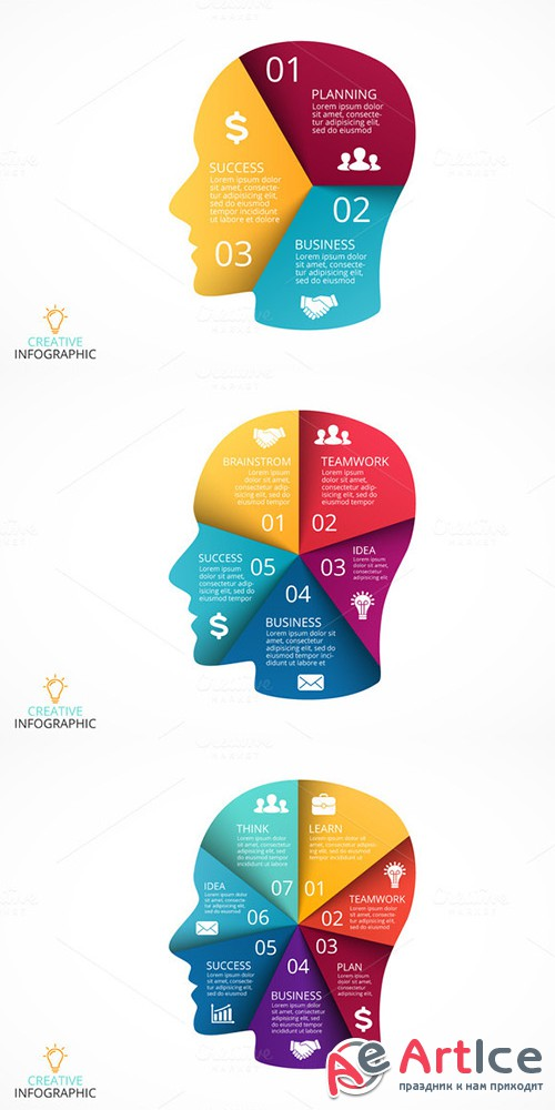 6 infographics with human face. v2 - Creativemarket 333937