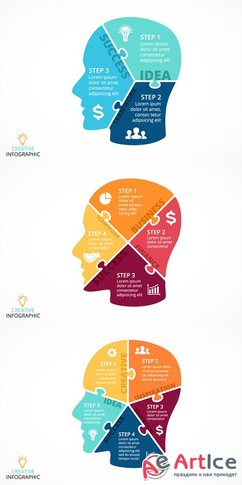 6 infographics with human face - Creativemarket 294970