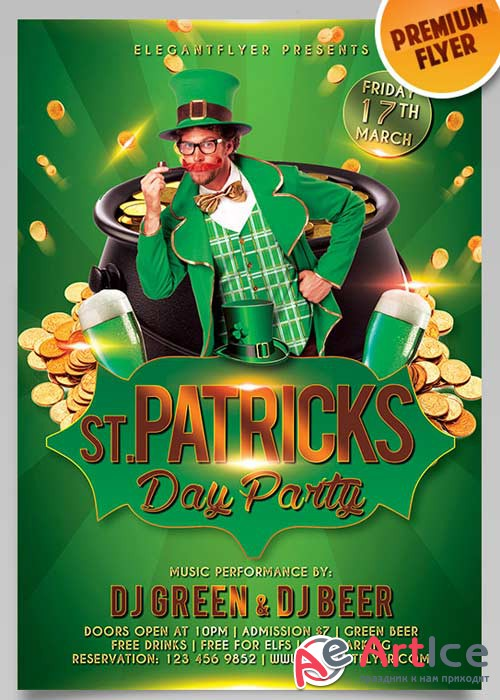 St. Patricks Day Flyer PSD Template + Facebook Cover
