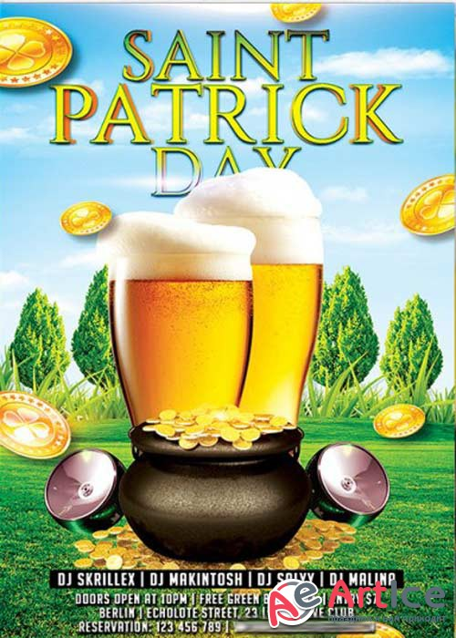 St. Patricks Day Premium Flyer Template + Facebook Cover