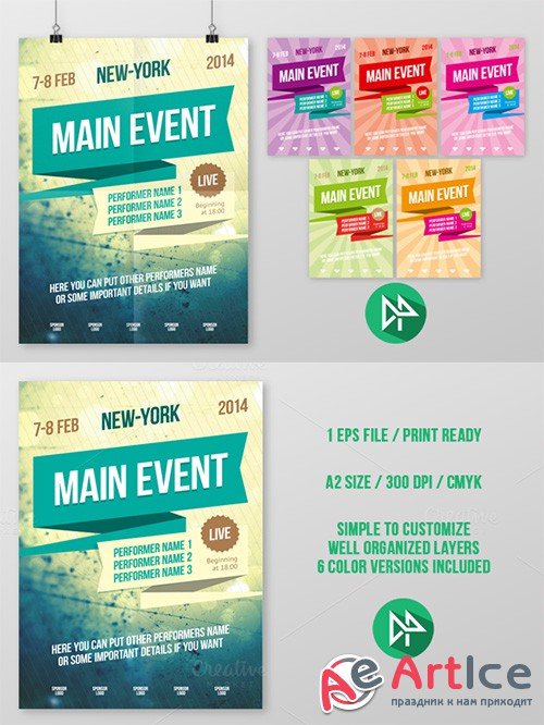 Multipurpose poster template, vol 2 - Creativemarket 42541