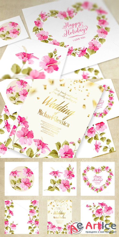 Wedding Invitation Cards Set. - Creativemarket 210069