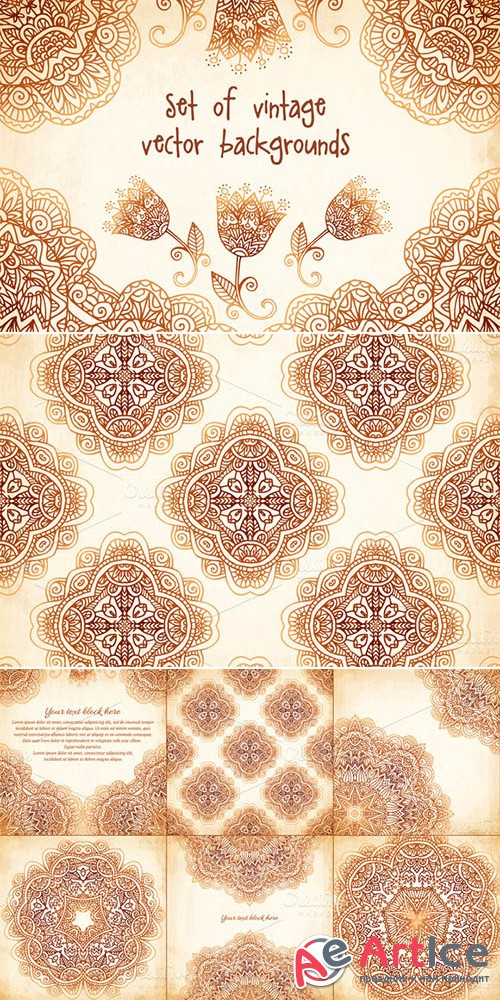 Set of 6 vintage vector backgrounds - Creativemarket 14702