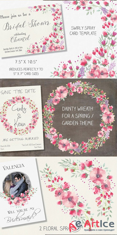 Watercolor clip art bundle: cerise - Creativemarket 554272