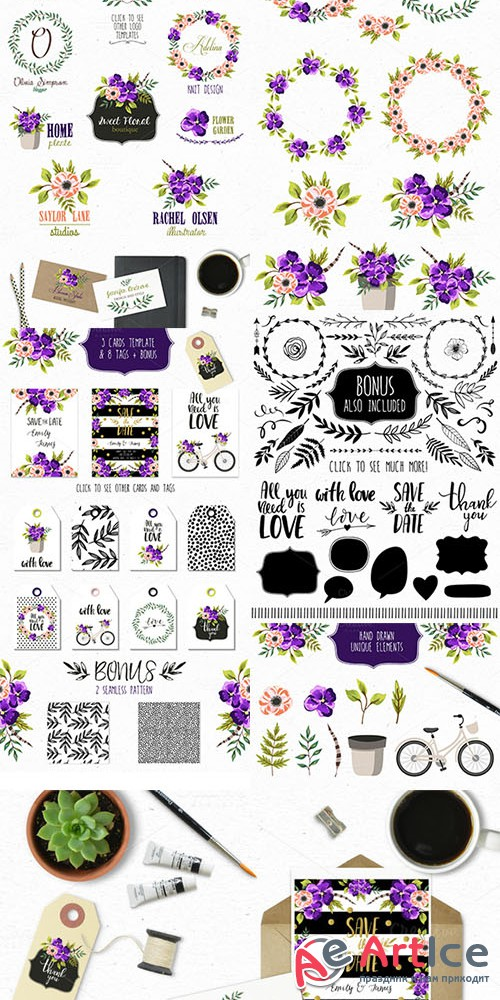 Violet Florals. Spring collection - Creativemarket 543154