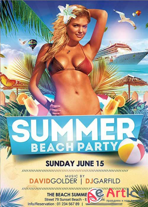 Summer V2 Beach Party Premium Flyer Template + Facebook Cover