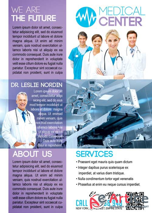 Medical Center Flyer PSD Template + Facebook Cover