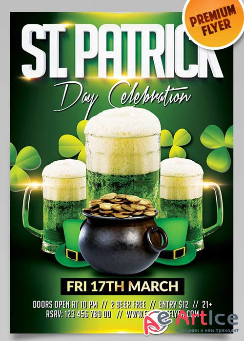 Saint Patricks Day V11 Flyer PSD Template + Facebook Cover