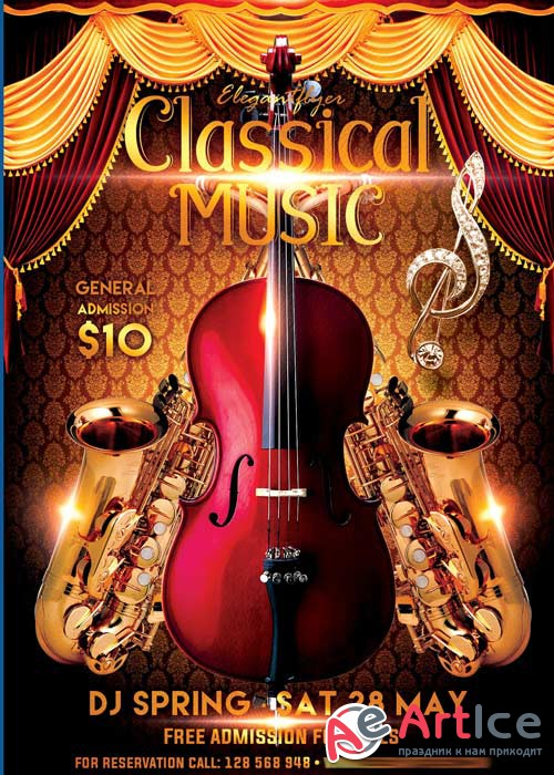Classical music Flyer PSD Template + Facebook Cover