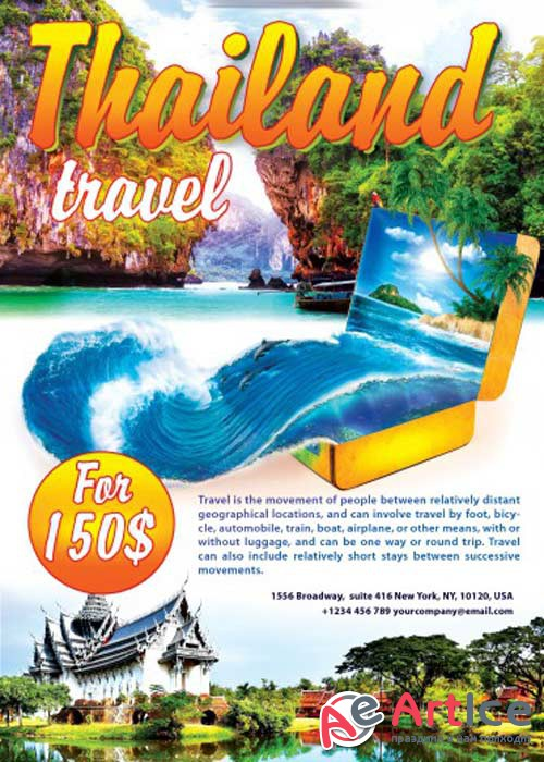 Thailand Travel Flyer PSD Template + Facebook Cover