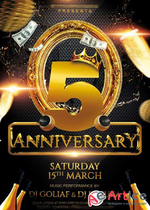 Anniversary Party V3 PSD Premium Flyer Template + Facebook Cover