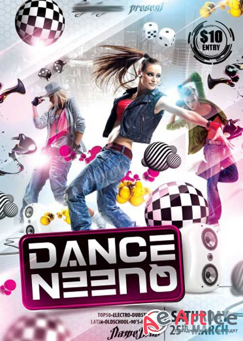 Dance Queen V1 Flyer PSD Template + Facebook Cover