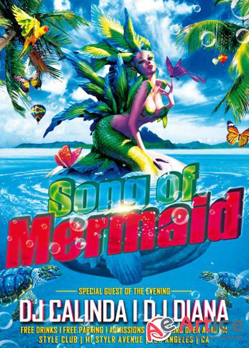 Mermaid song Flyer PSD Template + Facebook Cover