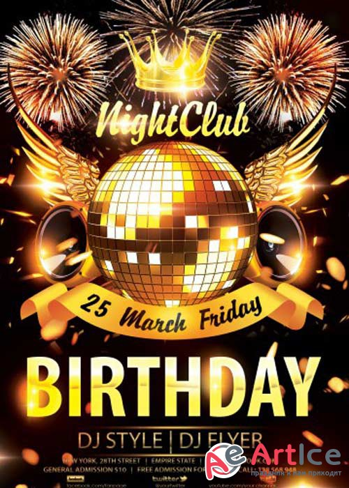 Night Club Birthday V2 PSD Flyer Template