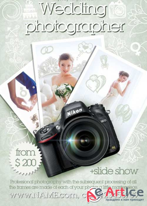 Wedding Photographer V2 Flyer PSD Template + Facebook Cover