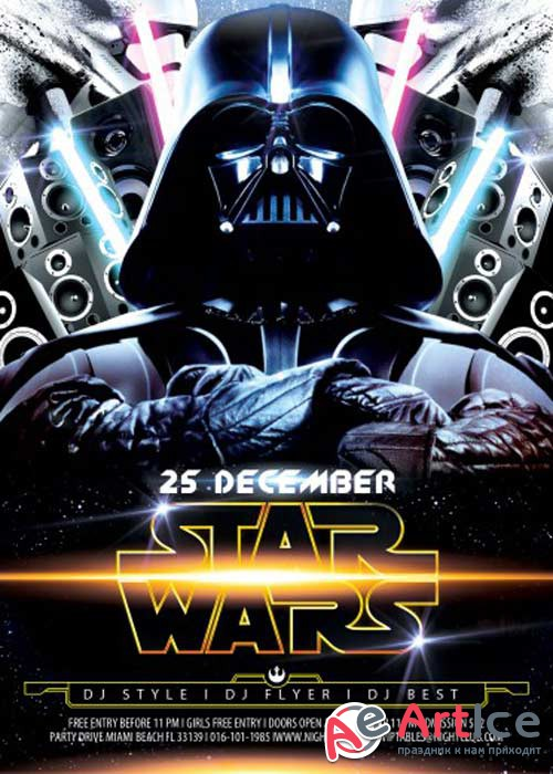 Star Wars Party V2 Flyer PSD Template + Facebook Cover