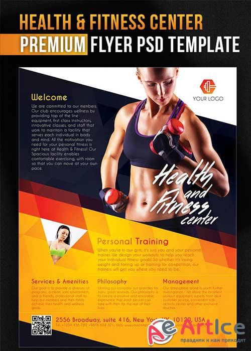 Health and Fitness Center Flyer PSD Template + Facebook Cover