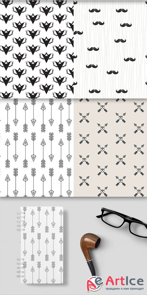 Hipster Seamless Patterns set of 4 - Creativemarket 580850