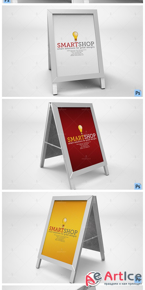 Poster Stand Display Mockup - Creativemarket 559194
