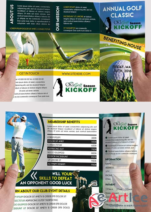 Golf Tournament Premium Tri-Fold PSD Brochure Template