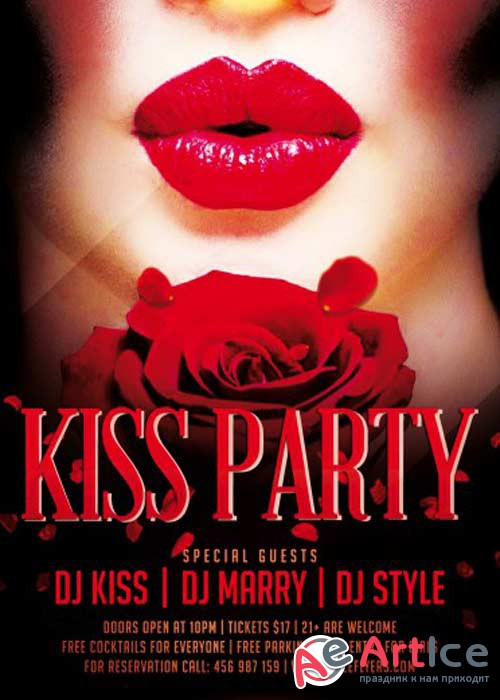 Kiss Party PSD Flyer Template