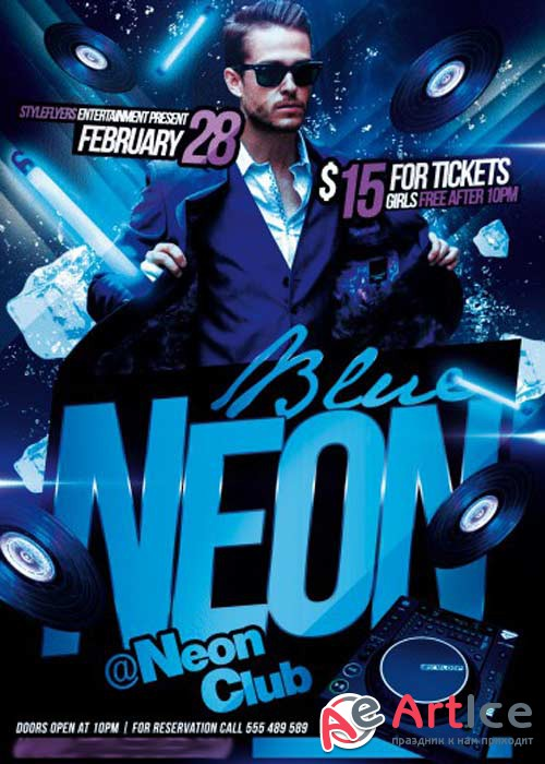 Blue Neon V2 Party Flyer PSD Template + Facebook Cover