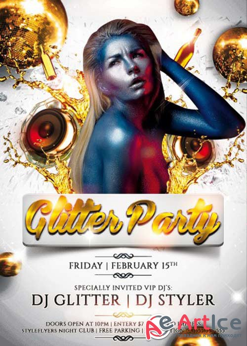 Glitter Party V2 Flyer PSD Template + Facebook Cover