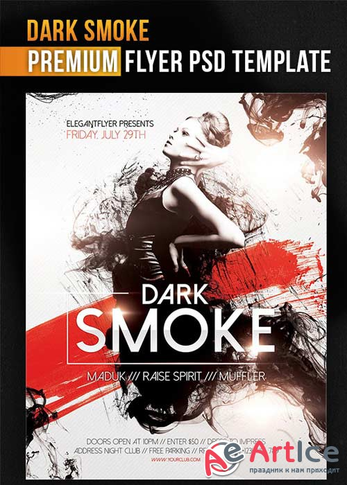 Dark Smoke Flyer PSD Template + Facebook Cover