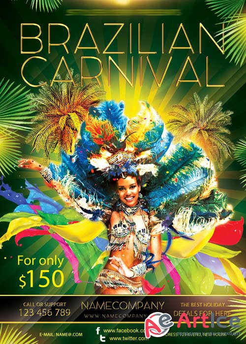 Brazilian Carnival Travel V5 Flyer PSD Template + Facebook Cover