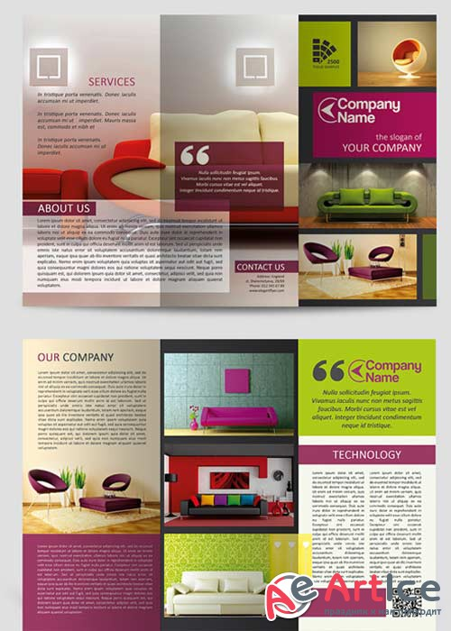 Furniture V1 Tri-Fold Brochure PSD Template