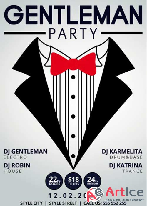 Gentleman Party PSD Flyer Template + Facebook Cover
