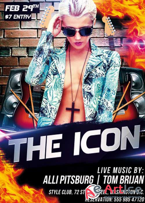 The Icon V1 PSD Flyer Template + Facebook Cover