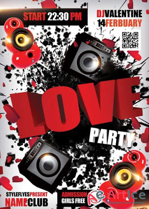 Love Party V10 PSD Flyer Template with Facebook Cover