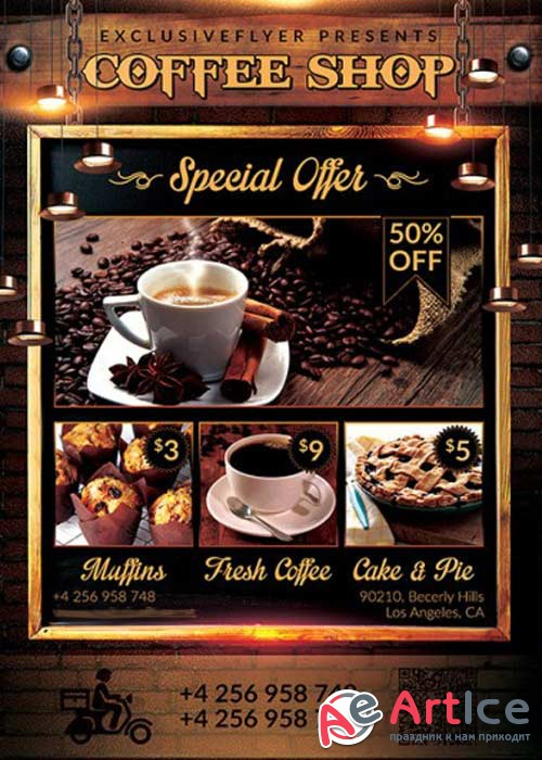 Coffee Shop V4 Premium PSD Flyer Template + Facebook Cover