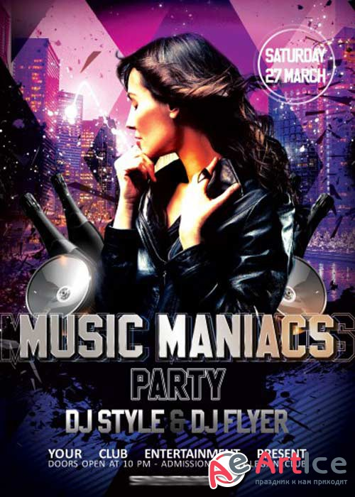 Music Maniacs Party PSD Flyer Template + Facebook Cover