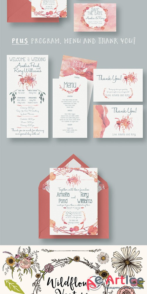 Watercolour Wedding Suite 2.0 - Creativemarket 274153