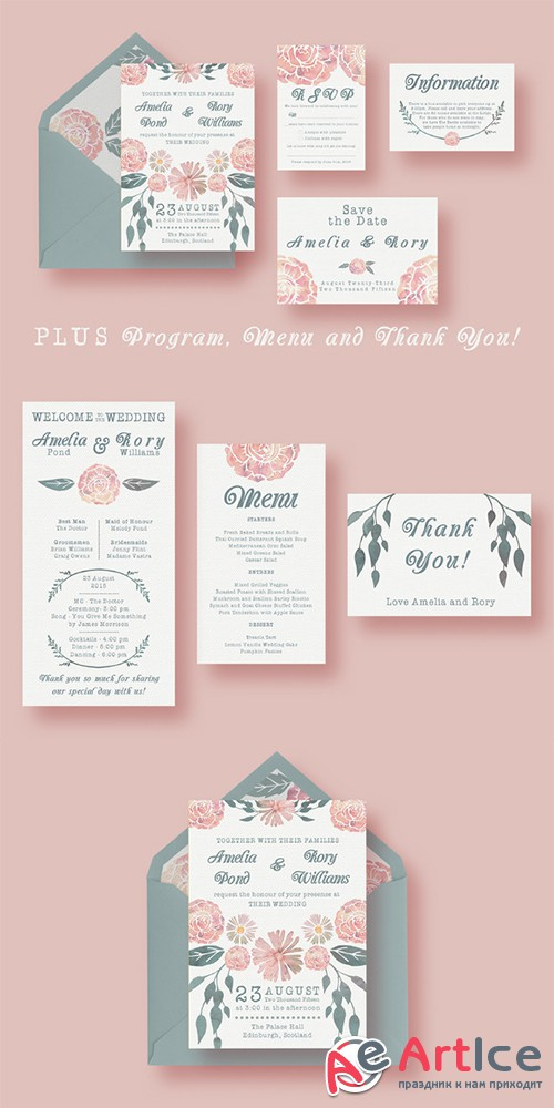 Watercolour Wedding Suite - Creativemarket 273709