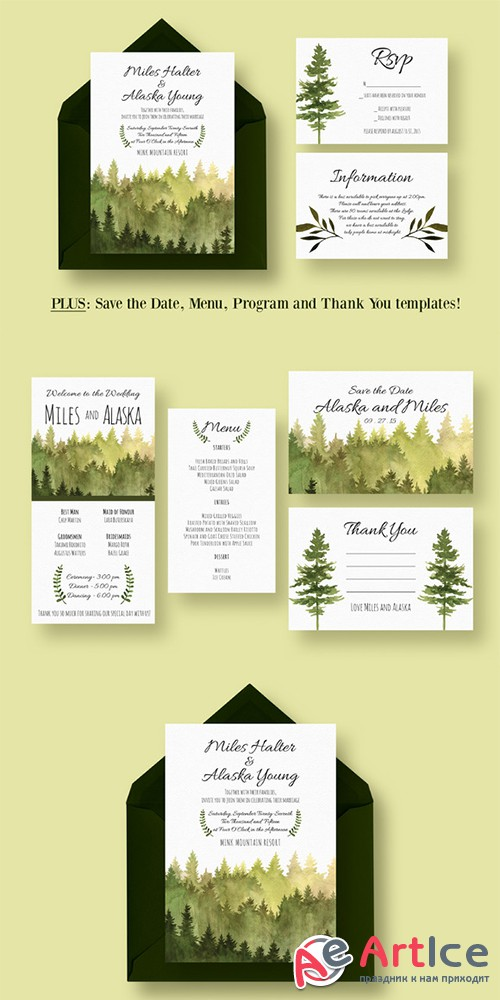 In the Woods Wedding Suite - Creativemarket 384215