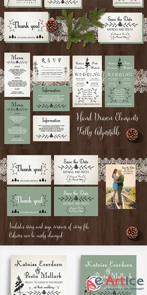 Pine Tree Wedding Invitation Suite - Creativemarket 201456