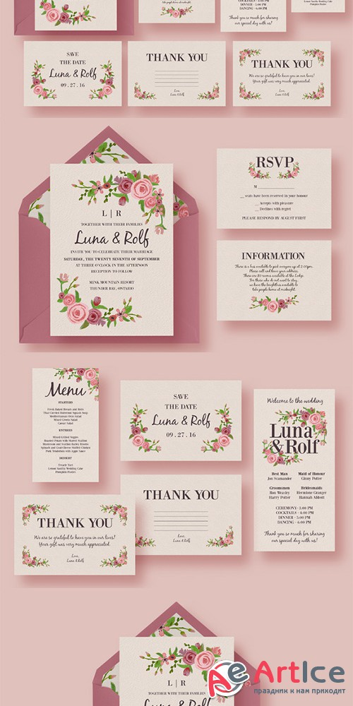 Floral Wedding Invitation Suite - Creativemarket 328708